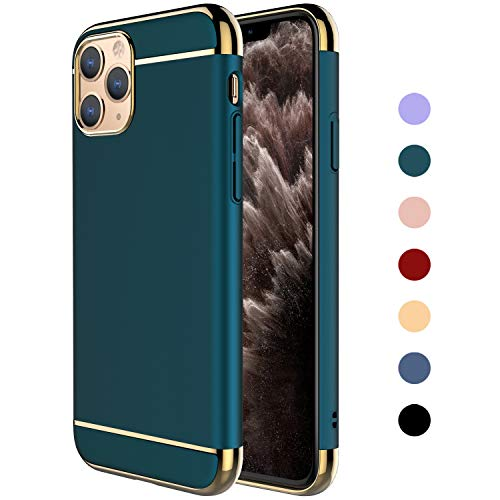 "RORSOU iPhone 11 Pro Max Case, 3 in 1 Ultra Thin and Slim Hard Case Coated Non Slip Matte Surface with Electroplate Frame for Apple iPhone 11 Pro Max (6.5"")(2019) - Dark Green"