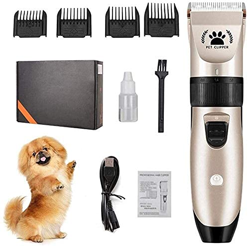 Haustierpfleger-Clippers, 5-Level-Geschwindigkeit einstellbar wiederaufladbar Schnurkabeln / Kabel-Haustier-Haar-Clippers-Kit, geräuscharme elektrische Haarschneidet-Clippers Set für Hunde Katzen Tier