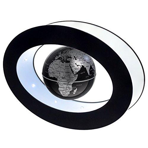 Smartfox Schwebender schwarz silberner Globus Weltkugel magnetisch Dekoration mit 8 LED´s