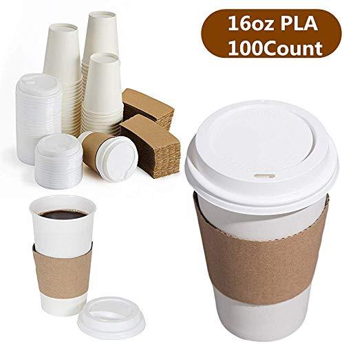 Lavender 100 STK Pappbecher biologisch abbaubar für 450ml 16oz Coffee to go Einmalbecher Papierbecher mit PLA Beschichtung Recycling Kaffeebecher mit Deckel und Hitzeschutz weiß