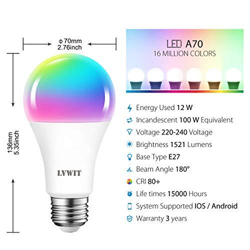 LVWIT A70-30 WIFI DIM+CCT+RGB 12W E27 X-Y