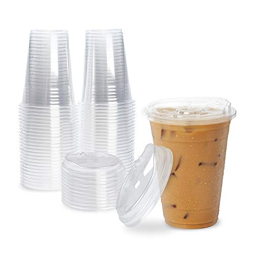 [100 Pack] Disposable Strawless Plastic Cups with Lids - 16 Oz Clear Plastic Cups and Sippy Cups Lids, Perfect Eco-Friendly To Go Cups for Iced Coffee, Smoothies, Soda Party Drinks and Cafe Essentials