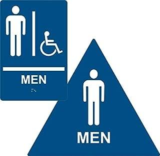 ADA Men Restroom Paired Set, Braille Sign + Door Sign, ADA Compliant (Blue)