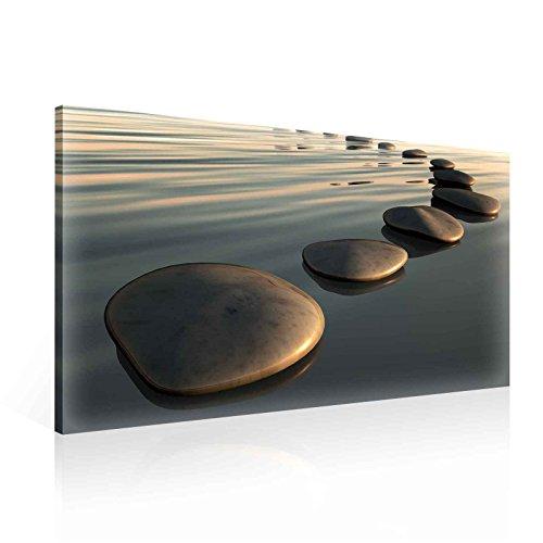 Wasser Steine Sonne Leinwand Bilder (PP138O1FW) - Wallsticker Warehouse - Size O1 - 100cm x 75cm - 230g/m2 Canvas - 1 Piece