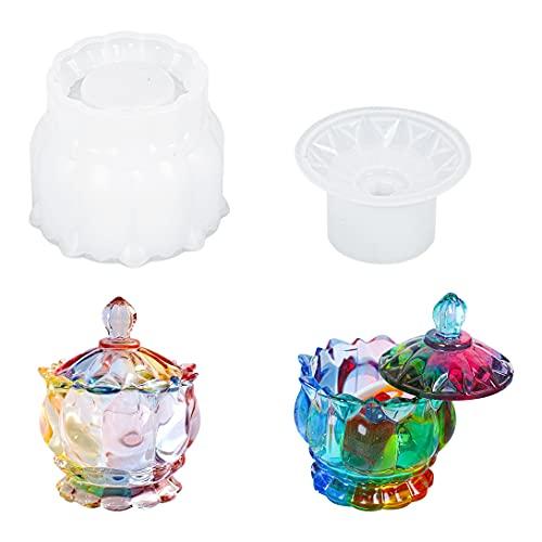 Koonafy 2 Pcs Moldes de Resina Epoxi,Molde Resina Epoxi de Cristal,Moldes de Silicone Caja de Almacenamiento,Storage Mold de Joyero para Manualidades,Decoración del Hogar(crystal molds)