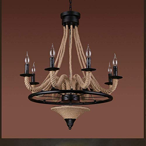 E-L Ceiling Lamp Retro Industrial Hemp Rope Chandelier Wrought Iron Black Circle Bracket Ceiling Pendant Lamp Candle Design Indoor Lamp Living Room Lamp Dinning Roo