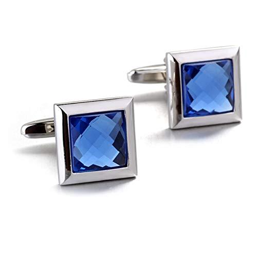 KnBoB Herren Manschettenknöpfe Quadrat Form mit Zirkon Silber Blau Manschettenknöpfe Geschäft Hochzeit Geschenke