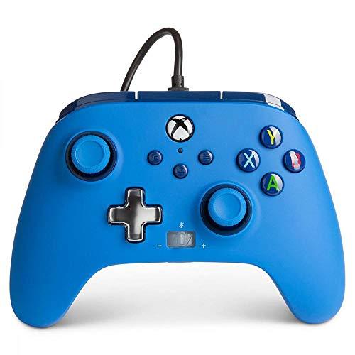 Verbesserter kabelgebundener PowerA-Controller für Xbox– Blue Gamepad, kabelgebundener Videospiel-Controller, Gaming-Controller, Xbox Series X|S
