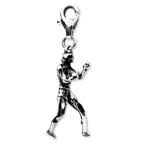 Sterling Silber 3-d Antik-Boxershorts mit Karabinerverschluss, Anhänger: 33 x 10 mm JewelryWeb