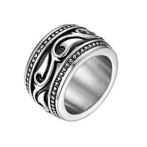 JewelryWe Schmuck Retro Herren-Ring Edelstahl schwer breit Flamme Muster Celtic Ring Band Bandring mit Gravur Silber Größe 65