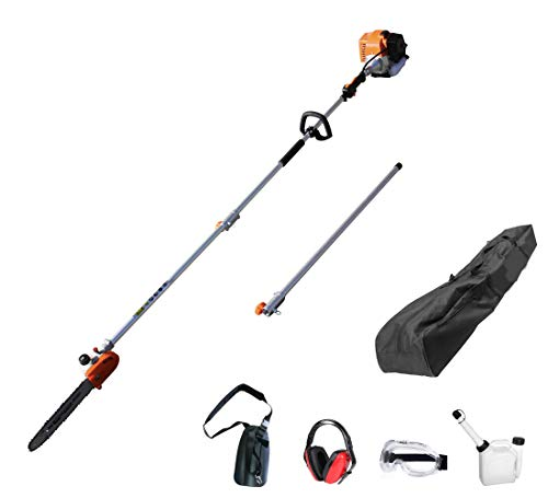 LaGinza 90-180 Degree 42.7cc Head Adjustable Pole Chainsaw for Tree Trimming with 12 inch OREGON Cutting Bar & OREGON Chain 43-inch Extension for a 15ft Reach Gas Cordless Pole Saw