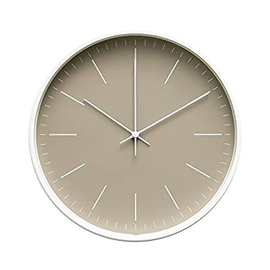 """Arospa Contemporary Interior Design Minimalist Palette 12"""" Silent Non-Ticking Sweep Wall Clock with White Gloss Frame (Sandalwood)"""