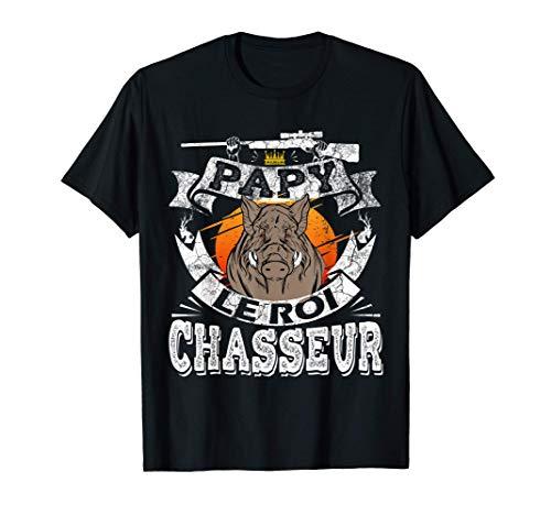 Homme Fete Grand-père Cadeau Chasse Humour Sanglier Chasseur Papy T-Shirt