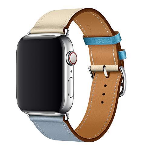 XCool para Correa Apple Watch 38mm 40mm, Cuero Rojo Rosado Naranja Azul para Hombres Mujer para iwatch Serie 4 Serie 3 Serie 2 Serie 1 (42mm/44mm, Azul)