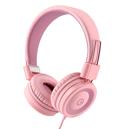 Kids Headphones - noot products K11 Foldable Stereo Tangle-Free 3.5mm Jack Wired Cord On-Ear Headset for Children/Teens/Girls/Smartphones/School/Kindle/Airplane/Plane/Tablet - Soft Pink