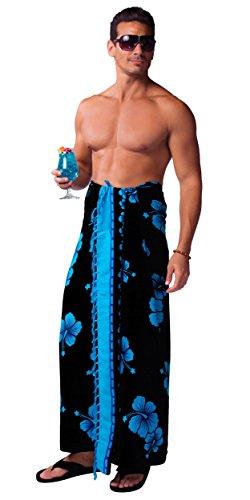1 World Sarong Mens Hibiscus Sarong in Aqua Blue/Black