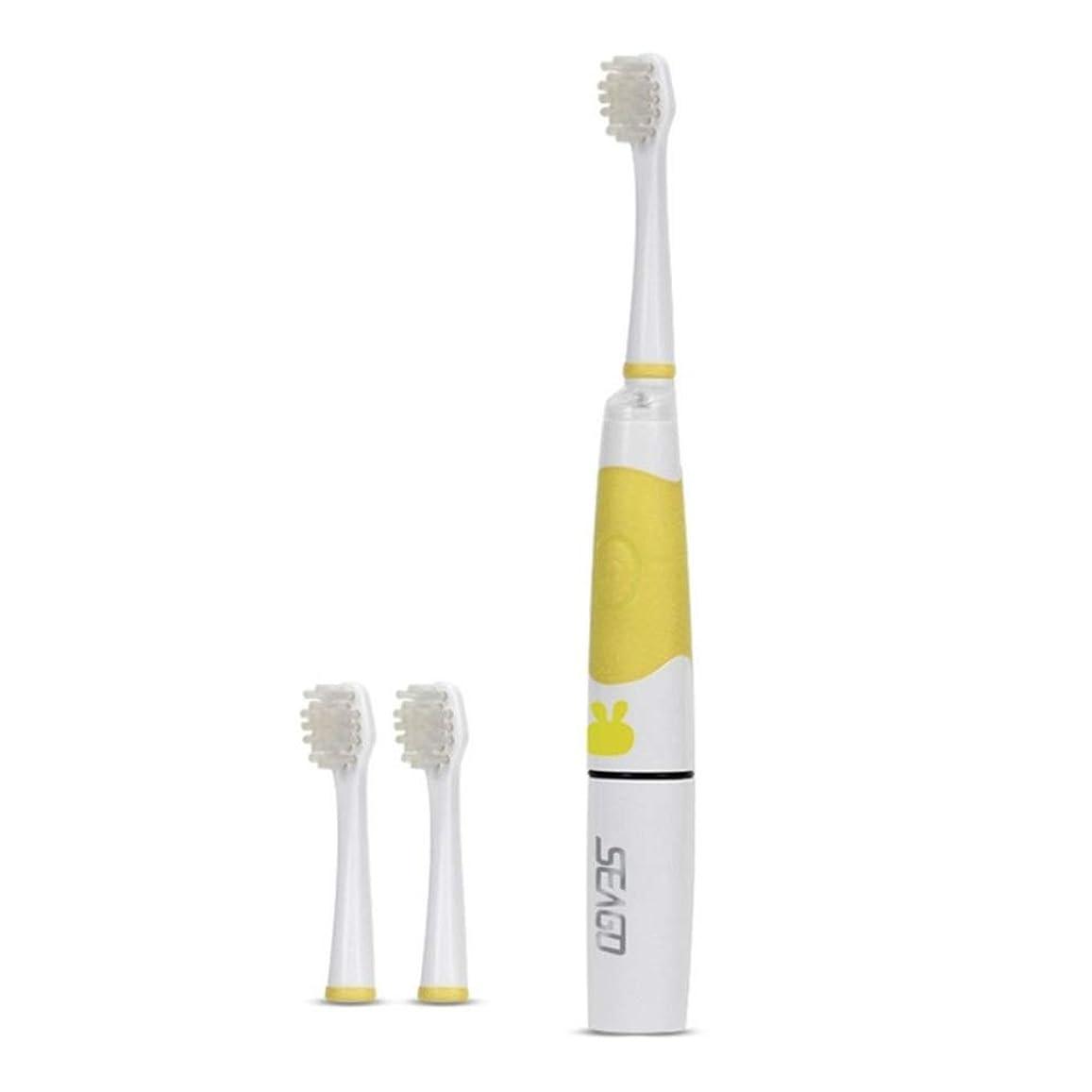 羊飼い収束する区別SOOKi 子供ソニック電動歯ブラシLEDライトキッズソニック歯ブラシスマートリマインダー赤ちゃんの歯ブラシ幼児歯ブラシで余分2交換可能なブラシヘッド用2-7子供,Yellow