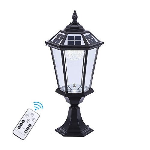 LMYMX Farola Solar de LED, para Alumbrado Público 2W con Impermeable IP65, Aluminio Luces de Jardín con Control Remoto, Luz de 3 Colores, Negro, 52CM