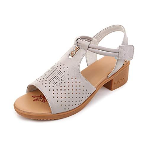 Sandalias Peep Toe para Mujer Decoración de Diamantes de imitación de Moda Color sólido Ahuecado Correa de Cuero de Talla Grande 42 Sandalias de tacón de Bloque de Verano para Mujer