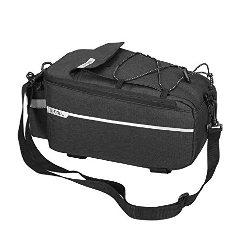 Outdoor Cycling Bike Rear Seat Rack Storage Trunk Bag Handbag Pannier Suitcase Bicycle Pannier Shoulder Carrier Pouch Black