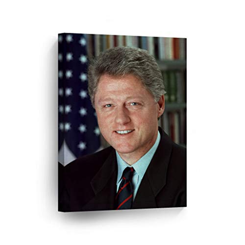 Smile Art Design 42nd President of The United States of America William Bill Clinton Portrait Canvas Wall Art Print America History Political Icon Office Library Living Room Home Decor 17x11