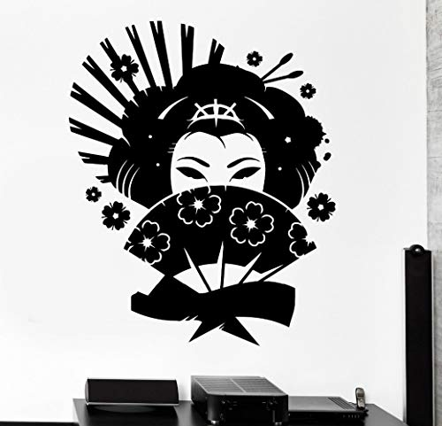 XCSJX Grande taille Sticker Geisha Japon Oriental Femme Fan Fille Décor Autocollants En Vinyle Amoureux Chambre Stickers Muraux Murale 56 X 68 cm