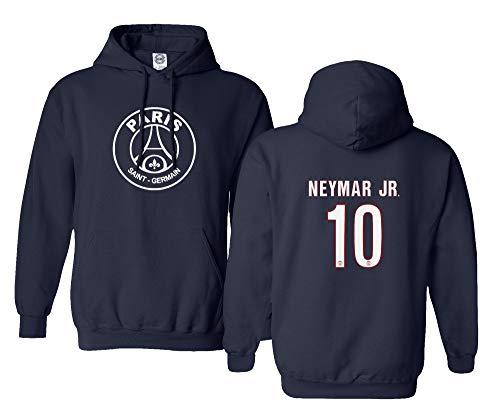 Spark Apparel New Paris Soccer Shirt #10 Neymar Jr. Men's Hooded Sweatshirt (Navy, Medium)