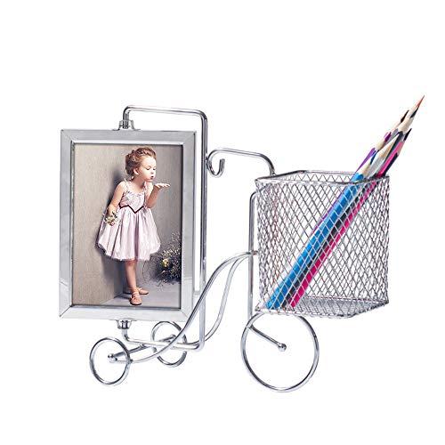 Drehbarer Bilderrahmen aus Stahl, Schreibtisch-Tisch, Fahrrad-Stifthalter mit Aufbewahrungs-Organizer für 3,5 x 5 Fotos mit Glasfront