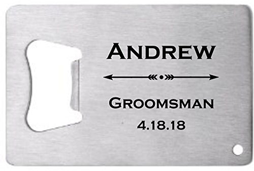 Lazer Designs Groomsman Credit Card Bottle Opener Personalized Monogrammed