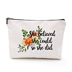 She Believed She Could So She Did pouch, white orage flowers