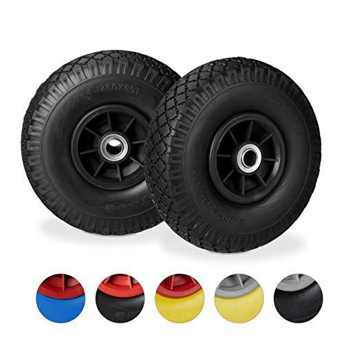 test Relaxdays 2X Sackräder, Vollgummireifen, 3,00-4 Zoll, 20 mm Achsen, bis zu 80 kg,… Deutschland