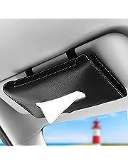 URAQT Auto Zonneklep Tissue Box, 2 Stuks Car Visor Tissue Holder, PU Lederen Tissue Box Houder, Auto Tissue Houder Voor Zonneklep en Rugleuning, Zwart