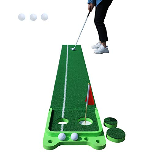 """OOFIT Golf Putting Green Mat, 2 Holes Golf Game Practice Equipment, Portable Mini Golf Training Aid Game, Golf Gifts for Men Home Office Backyard Indoor Outdoor Use - Real Course Feel (13"""" x 118"""")"""