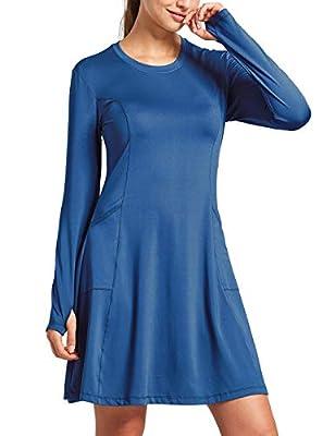 BALEAF Women's Sun Protection Dresses Beach Cover Ups UPF 50+ Quick Dry Long Sleeve Pockets Gofl Shirts Blue M