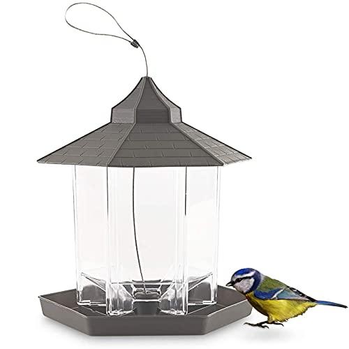 Comedero para Pájaros de Plástico con Techo para Jardín Comederos para Semillas de Pájaros de Jardín Comedero para Pájaros en el Exterior Comedero para Pájaros Colgante para Exteriores Jardín Patio
