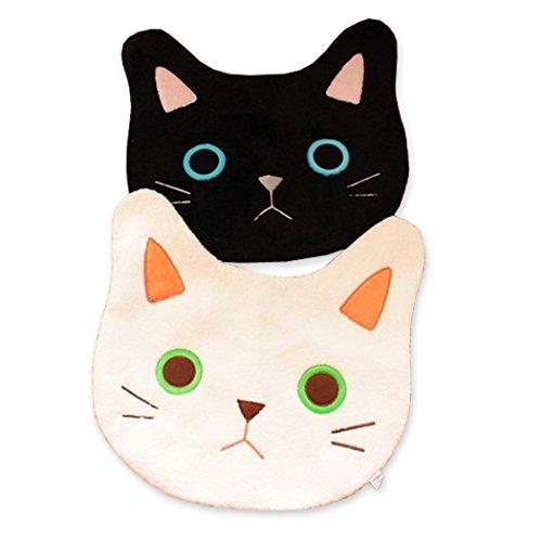 Meilleur reve【可愛い猫ちゃん/滑り 止め 付き】 ネコ 顔 マット 黒猫 ラグ カーペット トイレ 玄関 リビング にも 白 黒 部屋 インテリア (01ブラック)
