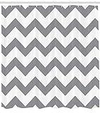 ABAKUHAUS Grau Duschvorhang, Geometrische Zickzack-Streifen, mit 12 Ringe Set Wasserdicht Stielvoll Modern Farbfest & Schimmel Resistent, 175 x 220 cm, Grau Weiß