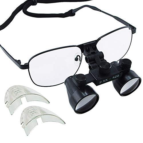 LMEIL 2.5X Lupa Dental Aumento Médico Quirúrgico 100 m Campo de visión 420 mm Distancia de Trabajo Aleación de níquel