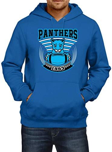 Shirt Happenz Panthers 1993 The Cats Carolina American Football Super Bowl Hoodie Herren Kapuzenpullover, Größe:L, Farbe:Blau