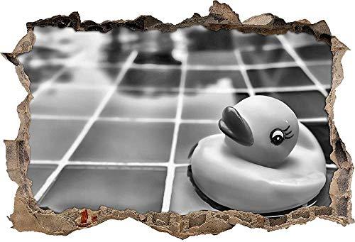 KAIASH Pegatinas de Pared Monocromo Pato chirriante en el baño Abertura de la Pared en Apariencia 3D Adhesivo de Pared o Puerta Adhesivo de Pared Calcomanía de Pared Decoración de Pared 62x42cm