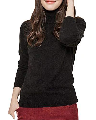 DAIMIDY Women's Turtleneck Cashmere Sweaters Black Cashmere Sweater, US S/4-6