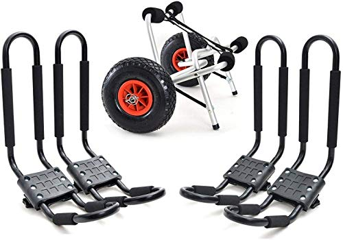 Kayak 2 Set Roof J Rack Boat Canoe Car SUV top Mount Carrier with 1 Dolly Cart
