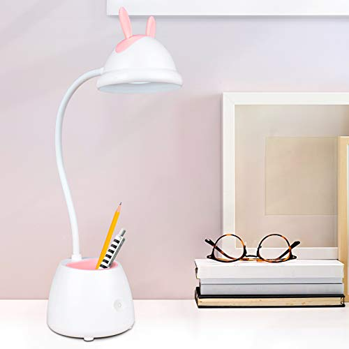 Schreibtischlampe für Kinder,Dimmbare LED Schreibtischlampe mit Touchsensor,Augenfreundlich Tischlampe mit Stifthalter,3 Farbtemperatur,USB Wiederaufladbare Leselampe für Mädchen,Jungen,Erwachsene