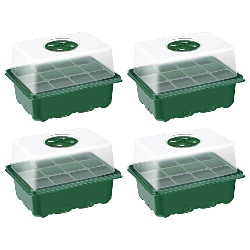 Hemoton 4 Piezas 12 Agujeros Bandejas de Semillas Bandeja de Propagador de Jardín Kit de Bandeja de Inicio de Plántulas con Cubiertas Kit de Propagación de Plántulas de Jardín (Verde)