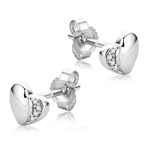 Orovi Pendientes Señora Corazón presión en Oro Blanco con Diamantes Talla Brillante Oro 9 Kt / 375