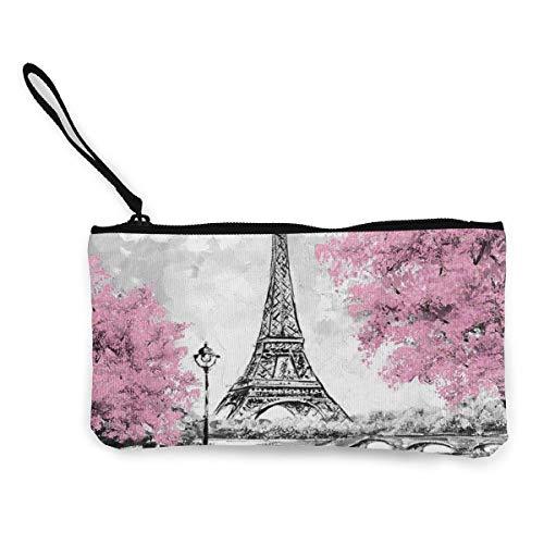 BHGYT Monedero de Lona de la Torre Eiffel de París, Pintura al óleo, Bolso de Maquillaje, Bolso de teléfono Celular con asa, Bolso de Embrague con Billetera de Pulsera Unisex, 4.7 'X 8.7'