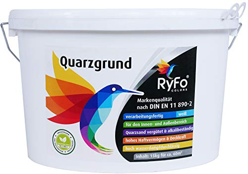 RyFo Colors Quarzgrund 15kg (Größe wählbar) - Profi Putzgrund weiß als Putzgrundierung für einen extrem griffigen Untergrund, innen und außen, gebrauchsfertig, zertifiziert