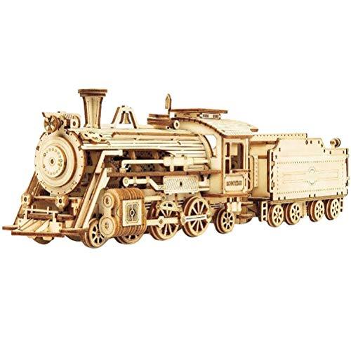 SFNTION Rompecabezas 3D para adultos tren de vapor con tierna 3D rompecabezas de madera modelo kits para adultos y adolescentes 3D rompecabezas kit de construcción de madera modelo Kits