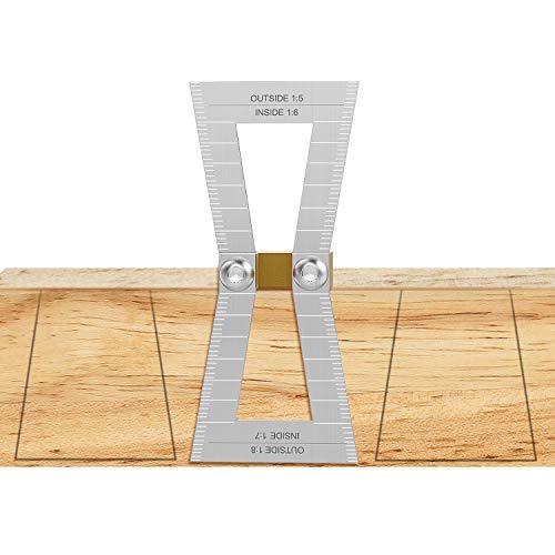 Housolution Zinken Winkel Gescheke zum Vatertag, Schwalbenschwanz Marker Aluminiumwinkel mit Skala, Größe 1:5-1:6 und 1:7-1:8 für Holzbearbeitung - Silber