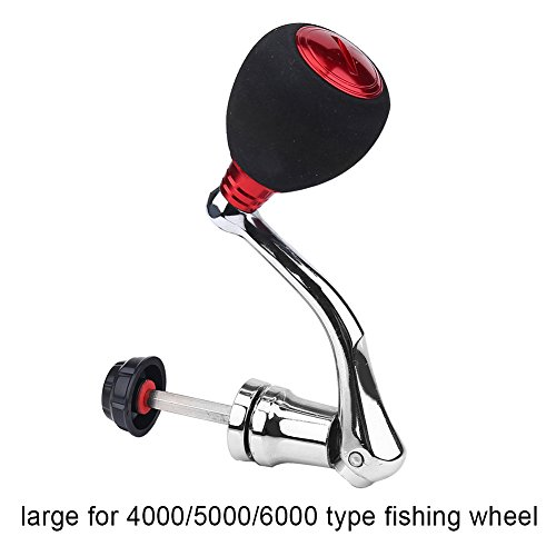 Fishing Reel Handle Rotatable Knob Power Handle Grip Metal Rocker Arm Grip for Spinning Fishing Reel Replacement (Red- Large for 4000 & 5000 & 6000)